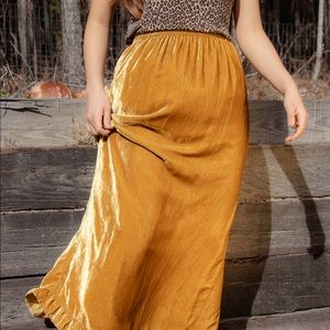 Vintage Maxi yellow velvet skirt